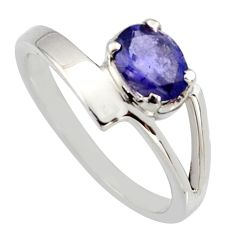 925 silver 0.93cts natural blue iolite round shape solitaire ring size 6.5 r6658