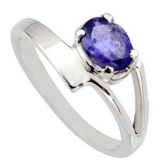 0.92cts natural blue iolite 925 sterling silver solitaire ring size 7.5 r6659