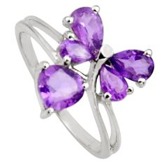 3.59cts natural purple amethyst 925 sterling silver ring jewelry size 5.5 r6661