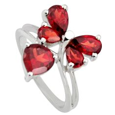 925 sterling silver 3.59cts natural red garnet ring jewelry size 6.5 r6667