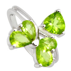 3.59cts natural green peridot 925 sterling silver ring jewelry size 7.5 r6673