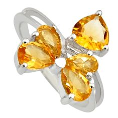 3.40cts natural yellow citrine 925 sterling silver ring jewelry size 6.5 r6676
