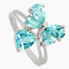 925 sterling silver 3.82cts natural blue topaz ring jewelry size 5.5 r6677