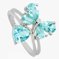 3.83cts natural blue topaz 925 sterling silver ring jewelry size 7.5 r6678