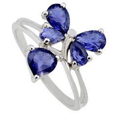 3.59cts natural blue iolite 925 sterling silver ring jewelry size 5.5 r6680