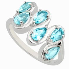 925 sterling silver 2.97cts natural blue topaz ring jewelry size 7.5 r6687