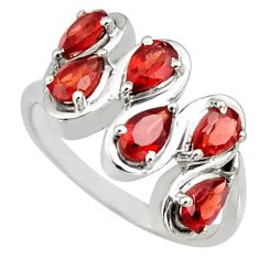 925 sterling silver 2.98cts natural red garnet pear ring jewelry size 8 r6691
