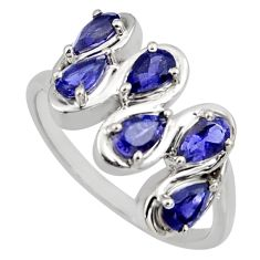 925 sterling silver 2.98cts natural blue iolite pear ring jewelry size 7.5 r6697