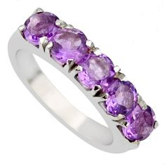 4.38cts natural purple amethyst 925 sterling silver ring jewelry size 6.5 r6702