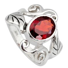 3.14cts natural red garnet 925 sterling silver solitaire ring size 6.5 r6730