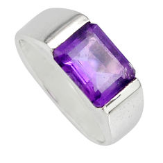 3.01cts natural purple amethyst 925 silver solitaire ring jewelry size 5.5 r6732