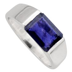 3.15cts natural blue iolite 925 sterling silver solitaire ring size 8.5 r6733