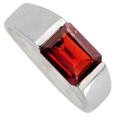 3.41cts natural red garnet 925 sterling silver solitaire ring size 8.5 r6736