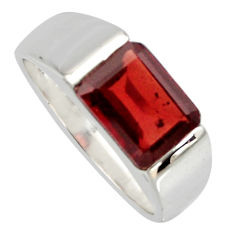 925 sterling silver 3.29cts natural red garnet solitaire ring size 6.5 r6739