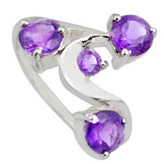 3.18cts natural purple amethyst 925 sterling silver ring jewelry size 6.5 r6742
