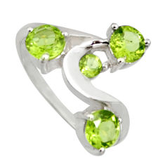3.18cts natural green peridot 925 sterling silver ring jewelry size 5.5 r6752