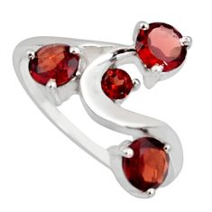 925 sterling silver 3.32cts natural red garnet round ring jewelry size 5.5 r6755