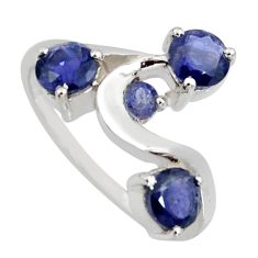 3.32cts natural blue iolite 925 sterling silver ring jewelry size 8 r6759