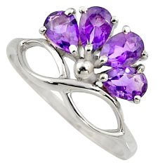 4.04cts natural purple amethyst 925 sterling silver ring jewelry size 6.5 r6762
