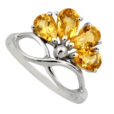 4.04cts natural yellow citrine 925 sterling silver ring jewelry size 7.5 r6766
