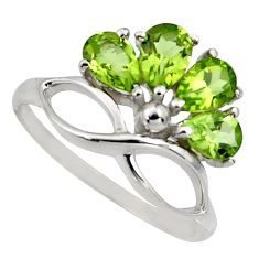 3.72cts natural green peridot 925 sterling silver ring jewelry size 5.5 r6768
