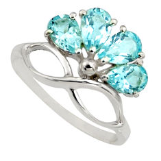 4.04cts natural blue topaz 925 sterling silver ring jewelry size 5.5 r6776