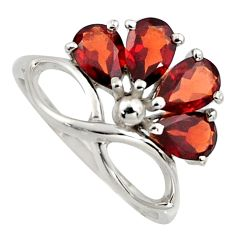 925 sterling silver 4.04cts natural red garnet pear ring jewelry size 5.5 r6777