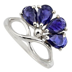 4.34cts natural blue iolite 925 sterling silver ring jewelry size 5.5 r6779