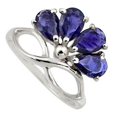 925 sterling silver 4.04cts natural blue iolite ring jewelry size 8.5 r6780