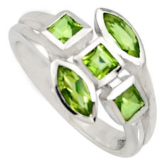 925 sterling silver 2.61cts natural green peridot ring jewelry size 5.5 r6793