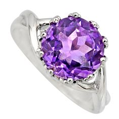 5.58cts natural purple amethyst 925 silver solitaire ring jewelry size 7.5 r6808