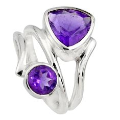 925 sterling silver 6.33cts natural purple amethyst ring jewelry size 5.5 r6824