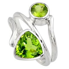 925 sterling silver 6.58cts natural green peridot ring jewelry size 7.5 r6827
