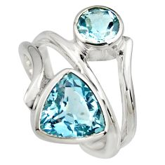 925 sterling silver 6.57cts natural blue topaz ring jewelry size 7.5 r6834