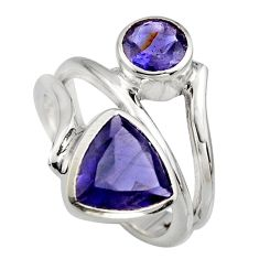 6.32cts natural blue iolite 925 sterling silver ring jewelry size 6.5 r6836