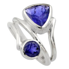 925 sterling silver 6.32cts natural blue iolite ring jewelry size 6 r6838