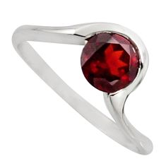 1.13cts natural red garnet 925 sterling silver solitaire ring size 7.5 r6851