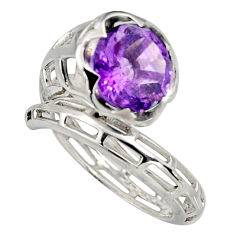 4.52cts natural purple amethyst 925 silver solitaire ring jewelry size 7.5 r6865