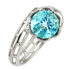 5.53cts natural blue topaz 925 sterling silver solitaire ring size 7.5 r6870