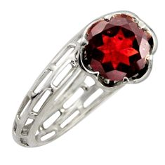 925 sterling silver 6.03cts natural red garnet solitaire ring size 8.5 r6874