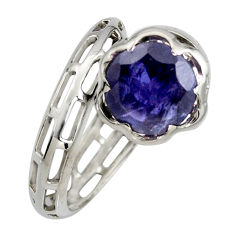 5.78cts natural blue iolite 925 sterling silver solitaire ring size 7.5 r6880