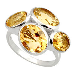 12.40cts natural yellow citrine 925 sterling silver ring jewelry size 7 r6885