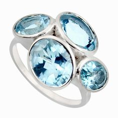 925 sterling silver 12.30cts natural blue topaz oval ring jewelry size 7.5 r6897