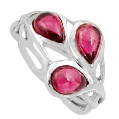 925 sterling silver 2.75cts natural red garnet pear ring jewelry size 8.5 r6909