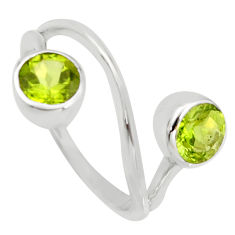 2.61cts natural green peridot 925 sterling silver ring jewelry size 7.5 r6926