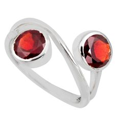 925 sterling silver 2.43cts natural red garnet ring jewelry size 6.5 r6934