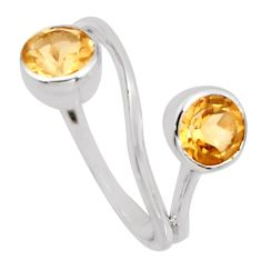 2.46cts natural yellow citrine 925 sterling silver ring jewelry size 5.5 r6936