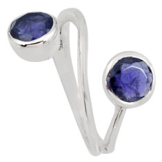 925 sterling silver 2.42cts natural blue iolite ring jewelry size 5.5 r6940