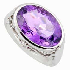 6.72cts natural purple amethyst 925 silver solitaire ring jewelry size 6.5 r6948