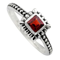 0.45cts natural red garnet 925 sterling silver solitaire ring size 7.5 r6965